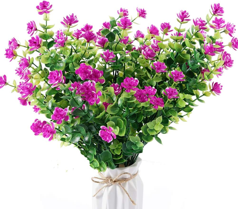 Beferr Artificial Flowers 4 Bunches of Shrub Fake Flowers UV Protection Green Plants Grass for Indoor Outdoor Decoration Table Garden Balcony Party Wedding (Fuchsia)