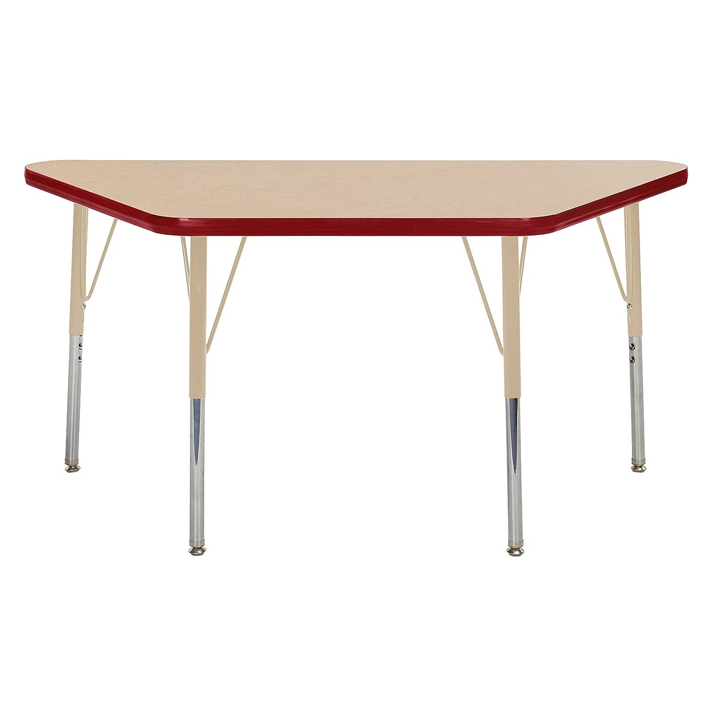 ECR4Kids ELR-14826-MRDSD-SS Mesa T-Mould 24' x 48' Trapezoid Activity School Table, Standard Legs w/Swivel Glides, Adjustable Height 19'-30' Adjustable Height 19-30