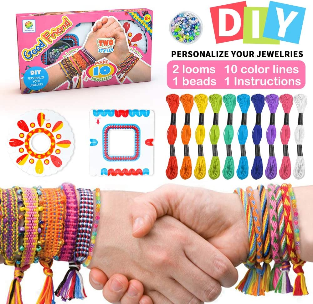SUNNYPIG Kit de Cuentas de Cuerdas Coloridas para Hacer Pulseras para niñas Kit de Pulsera de Amistad para niños con 10 Colores de Hilo de algodón de Colores, una pequeña Caja de Cuentas, etc.