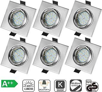 Bojim Pack de 6 Foco Empotrable Led Gu10 Luz de Techo 6W equivalente a Halogeno 54W Incluye Bombilla GU10 Blanco C/álido 2800K 600Lm Ojos de Buey Marco Cuadrado Esmerilado /Ángulo Orientable 30/° AC 220V