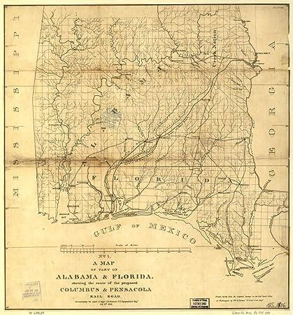Amazon.com: Vintage 1836 Map of part of Alabama & Florida, showing ...