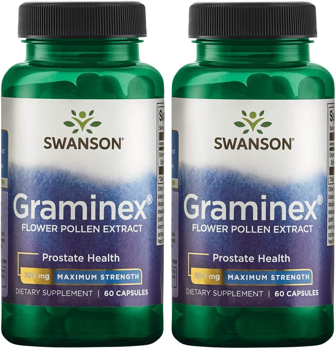 Swanson Graminex Flower Pollen Extract - Maximum Strength 500 mg 60 Caps 2 Pack