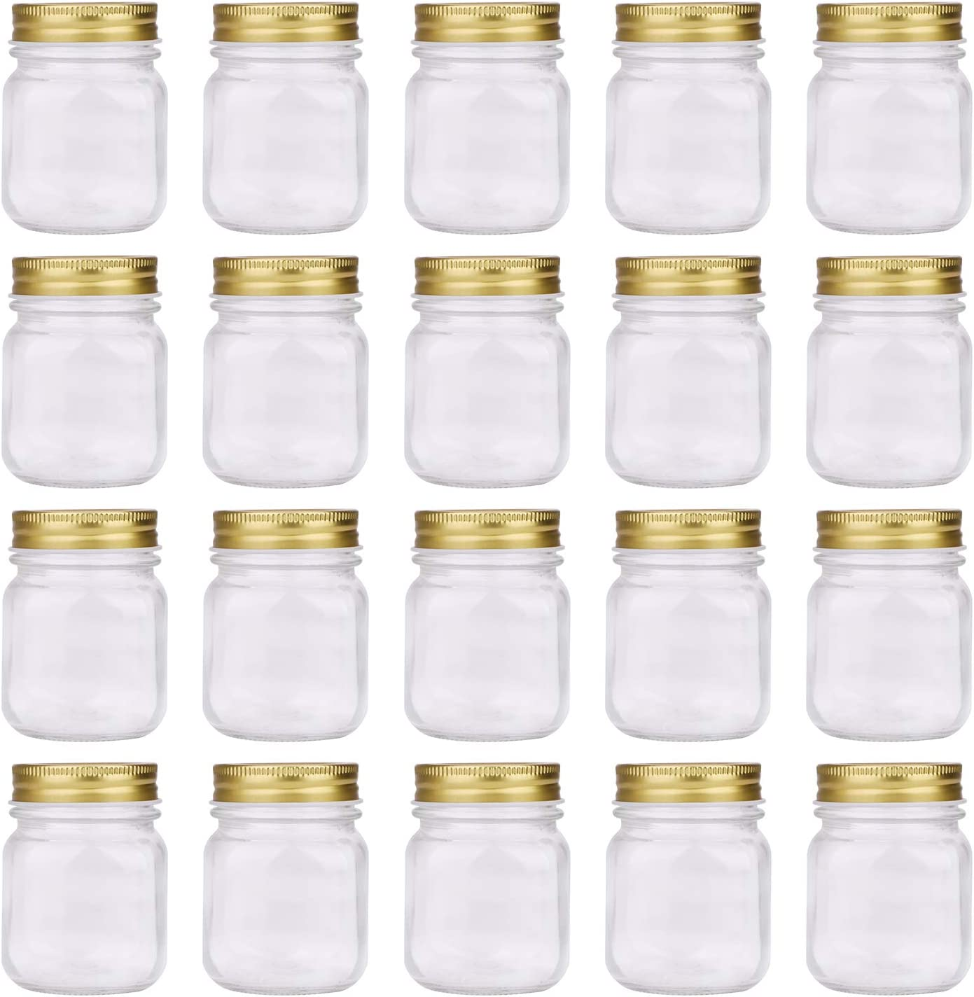 Regular Mouth Mason Jars,Encheng 5oz Clear Glass Jars with Lids(Gold),Small Spice Jars for Herb,Jelly,Jams,Wedding Favors,Shower Favors,Baby Foods,Mini Canning Jars Kitchen Storage Jars 20Pack … …