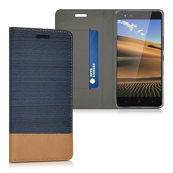 kwmobile Funda compatible con bq Aquaris X5-Carcasa de [tela] y [cuero sintético] con [soporte] en [azul oscuro / marrón]