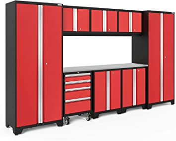 Garage Cabinets 56291 NewAge Products Bold 3.0 Red 9 Piece Set
