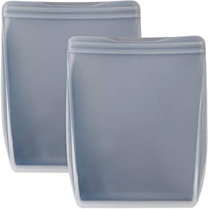 W&P Porter 100% Silicone Reusable Food Storage Bag | 50 oz (Pack of 2) Stand Up - Slate | Cook, Store, or Freeze | Easy Cleaning, Dishwasher-Safe (WP-PBSU50-2XSL)