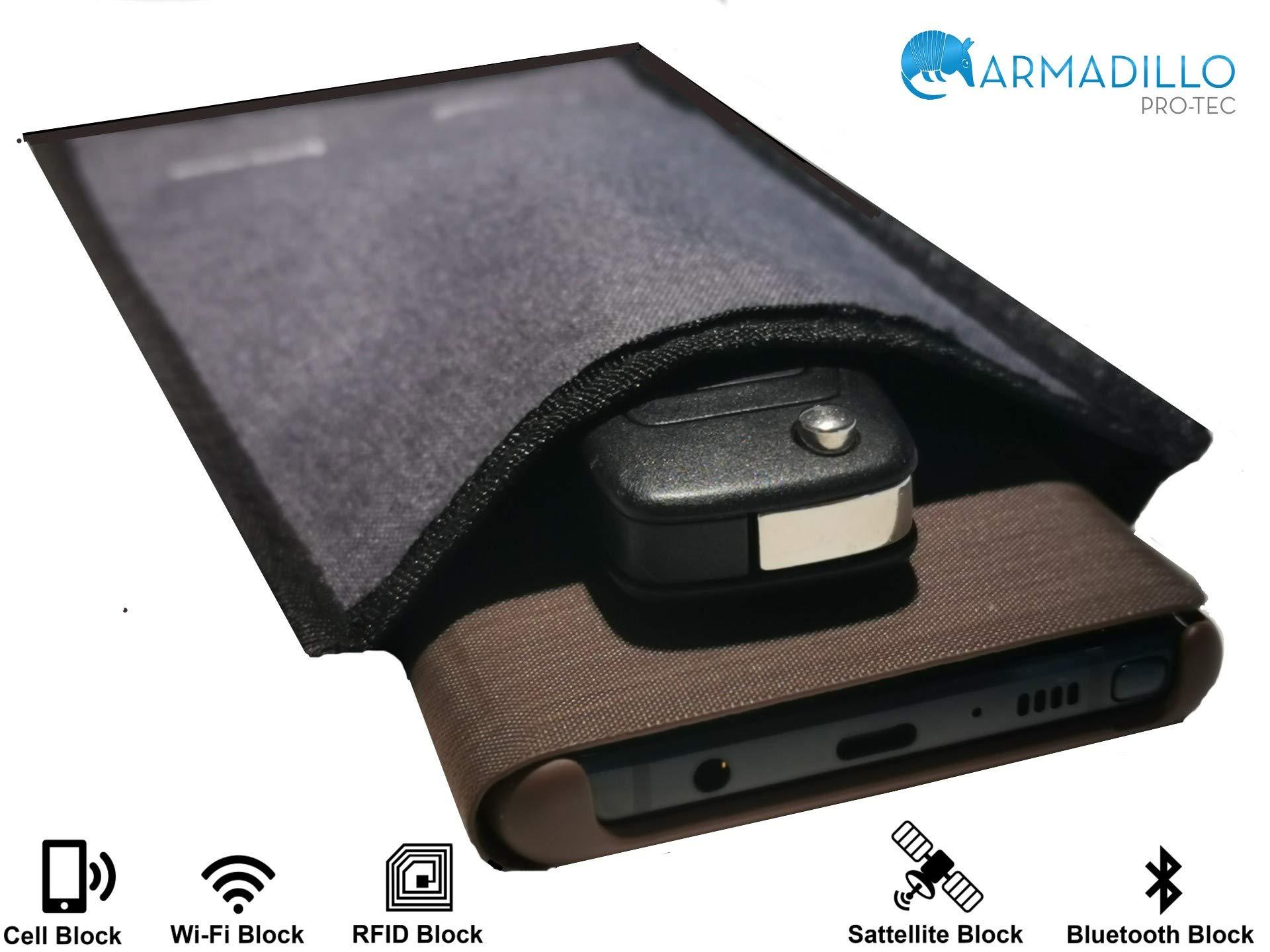 Armadillo Pro-Tec Faraday Bag Cell Phone & Car Key Fob Protector - RFID Signal Blocker and Faraday Cage - Anti-Car Theft, Anti-Hacking & Anti-Tracking