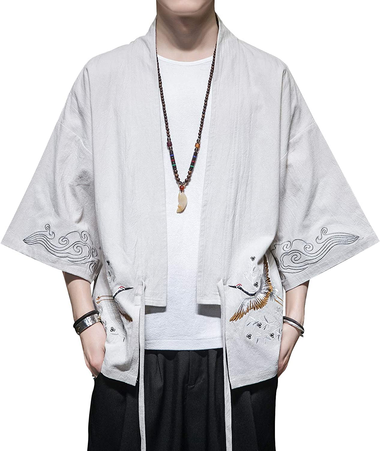 PRIJOUHE Mens Kimono Jackets Cardigan Casual Cotton Blends Linen Seven Sleeve Open Front Embroidery Coat