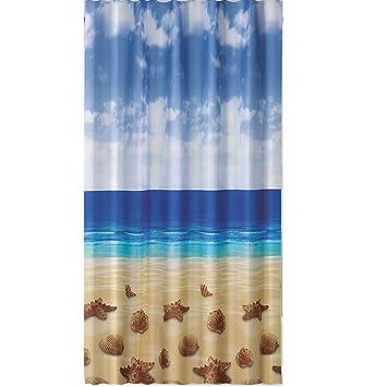 Ringe Ekershop EDLER Textil Duschvorhang 120 x 200 cm Leuchtturm am Meer Blau Weiss Gr/ün inkl