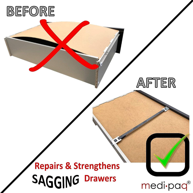 Repara los cajones de madera combados en minutos Drawer Doctor 1x Kit reparador de cajones 1x Pack Kit de reparaci/ón de cajones