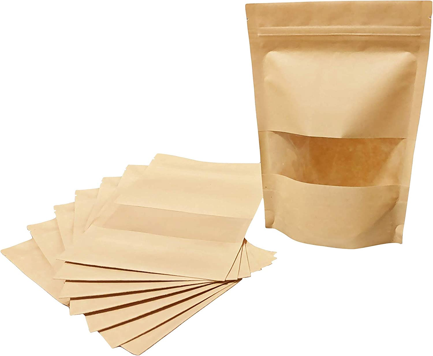 50 Pcs (5.5''x7.8'') Kraft Stand Up Pouches Food Packaging Storage Bags Brown Paper Bag Matte Clear Plastic Window Resealable/Reusable Ziplock Zip Small Oz Heat Seal Smell Proof Zipper For Product