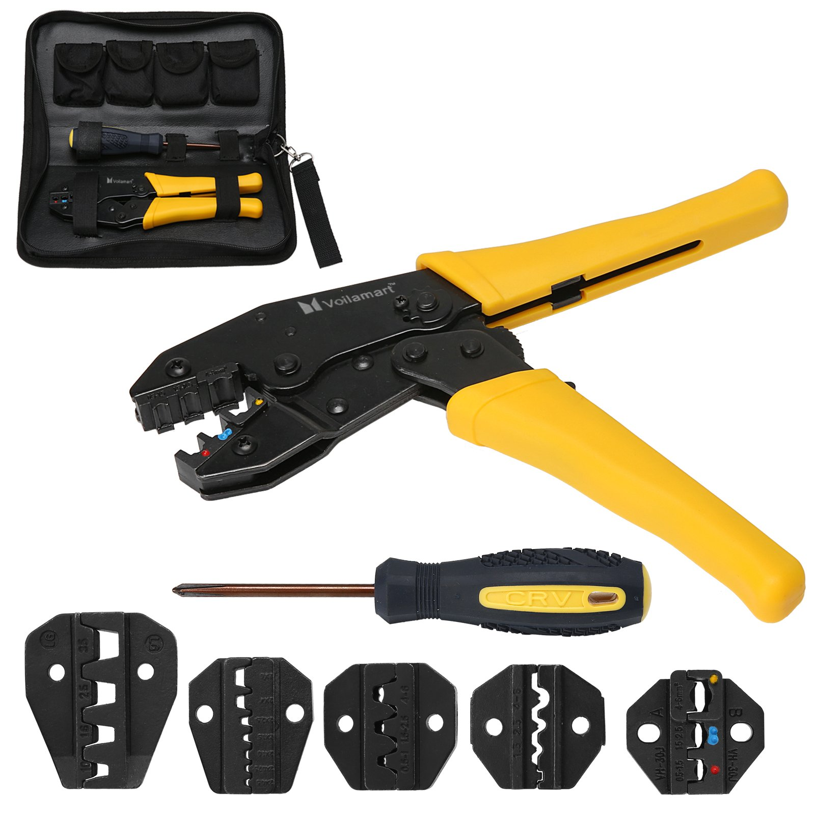 Voilamart Crimping Tool Kit Terminal Ratchet Plier Crimper 5 Interchangeable Die Sets Insulated Non-insulated Cable Wire Hand Tool All in One Pack with Bag