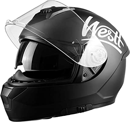Amazon.es: Westt Storm X Casco de Moto Integral con Doble Visera - Negro Mate Certificado ECE