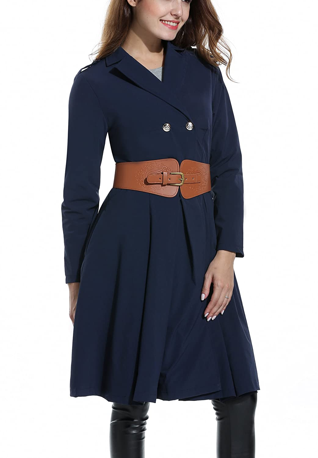 ACEVOG Women's Double Breasted Pleated Swing Trench Coat with Belt