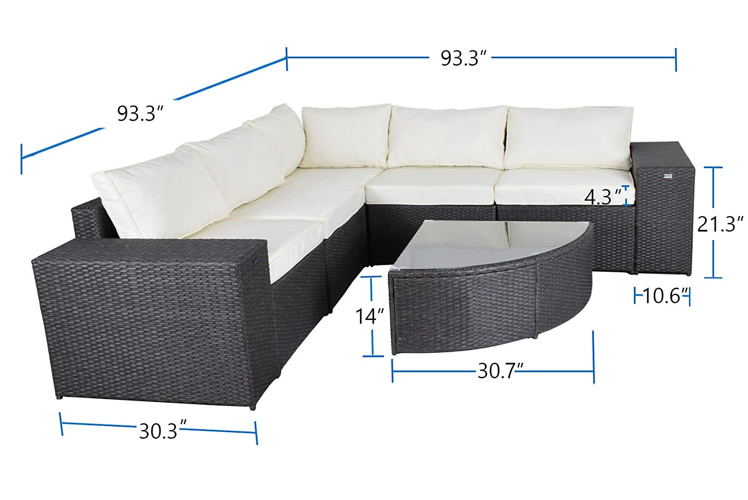 Gotland 6 piece set outdoor patio furniture sectional sofa glass top wedge tableall weather wicker with washable cushions patio backyard pooldeck