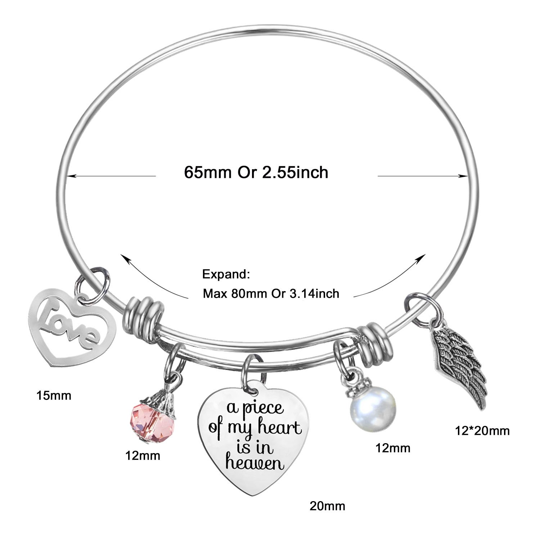 SOOFUN Memorial Jewelry A Piece of My Heart is in Heaven Memories Expandable Bangle Bracelet