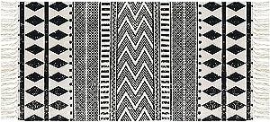 Ukeler Laundry Room Rug/Kitchen Rugs, Durable Black and White Boho Rug Cotton Tassel Kilim Rug Handmade Floor Rugs for Laundry/Bathroom/Entry Way