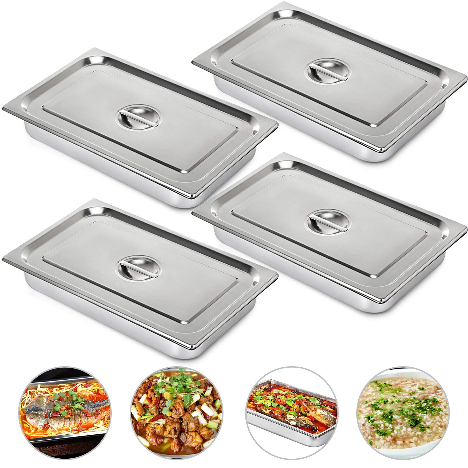 Mophorn 4 Inch Deep Steam Table Pan Full Size with Lid 13.7 Quart Stainless Steel Anti Jam Steam Table Pan Set of 4 Food Pans by Mophorn