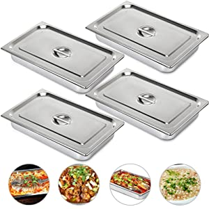 Mophorn 4 Inch Deep Steam Table Pan Full Size with Lid 13.7 Quart Stainless Steel Anti Jam Steam Table Pan Set of 4 Food Pans