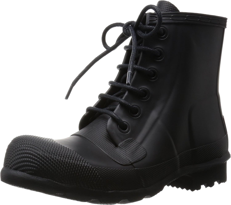 Rubber Lace-up Boots Black Rain Boot