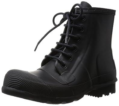 Hunter Mens Original Rubber Lace-up Boots Black Rain Boot - 8