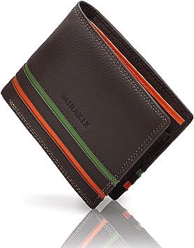 Mirakle Carteras Hombre, Cartera RFID Piel Hombre para 9 Tarjetas, 2 Compartimentos para Billeteras, 1 Bolsillo para Monedas, Cartera Delgada con Rayas Naranja y Verde de Moda, Marr¨®n Oscuro: Amazon.es: Equipaje