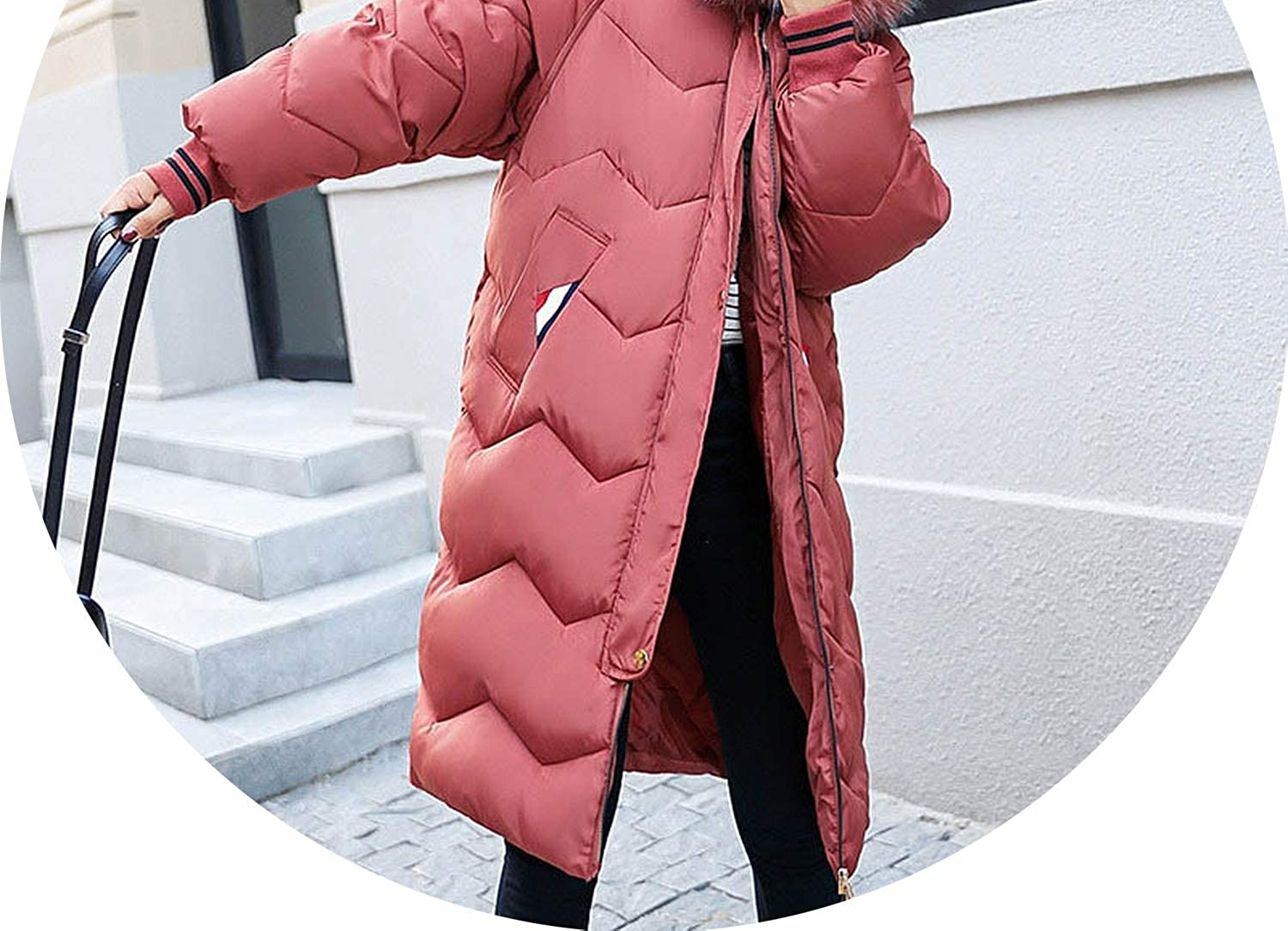 Dark Red Women Coat Fashion Fur Collar Hooded Down Jackets Down Cotton Padded Long Jackets