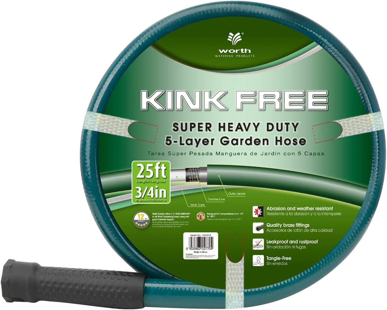 Worth Garden 3/4 in. x 25ft Garden Hose - Durable PVC Non Kinking Heavy Duty Water Hose with Brass Hose Fittings - Dark Green - 12 Years Warranty - H165B41