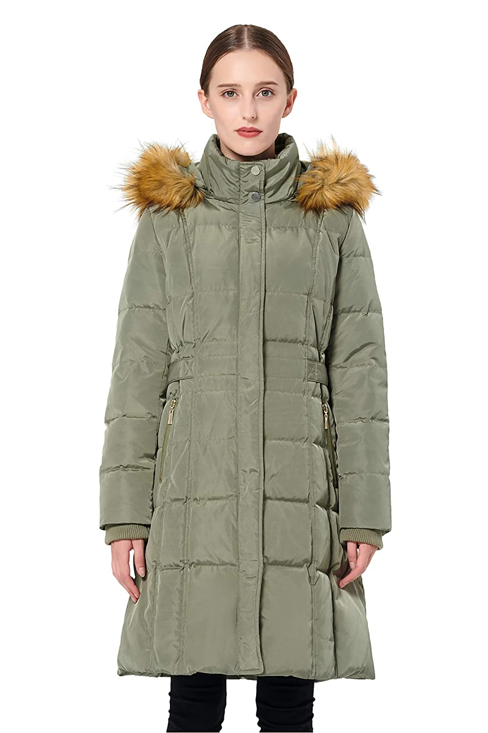 1565a179b43 Amazon.com: Orolay Women's Puffer Down Coat Winter Jacket with Faux Fur  Trim Hood YRF8020Q: Clothing