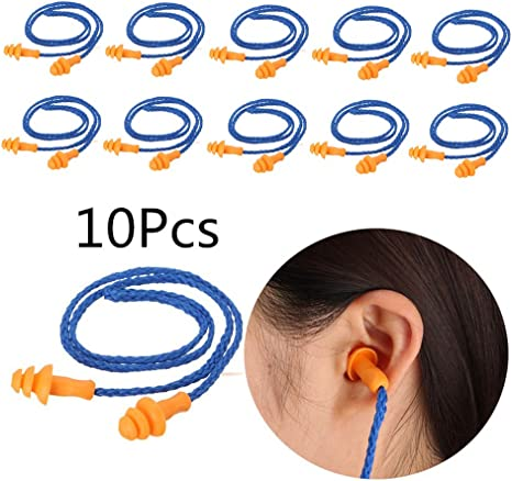 Silicone Reusable Blue Corded Ear Plug 10 Pairs Hearing Protection