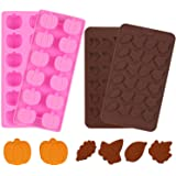 4 Pieces 3D Fall Candy Molds Halloween Pumpkin Candy Mold Thanksgiving Maple Leaf Shaped Fall Candy Chocolate Mold Ice Cube T