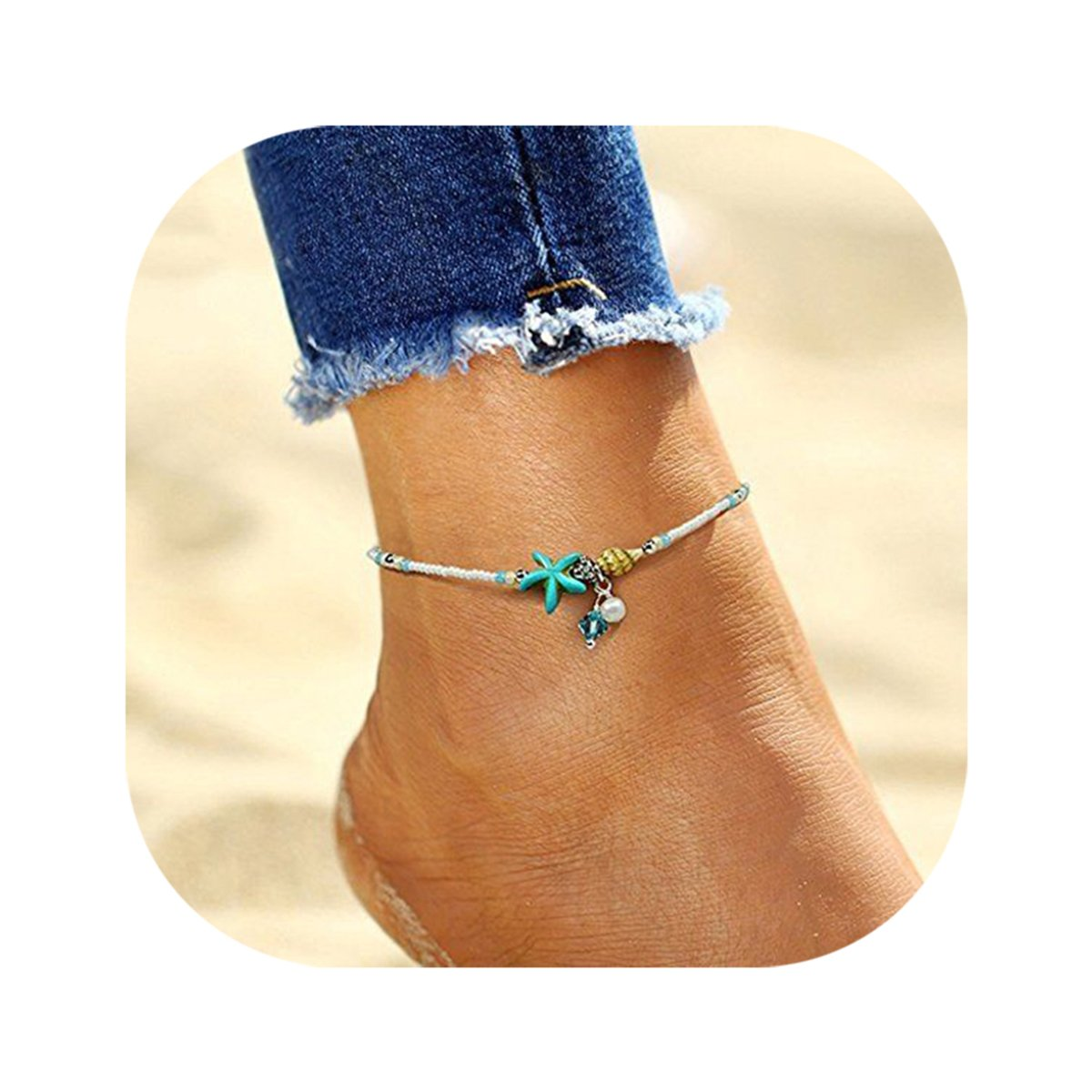 Hanloud Bohemian Starfish Pearl Anklet Handmade Beads Turquoise Pearl Foot Chain Beach Anklet Jewelry VANVENE B07BQQMS92_US