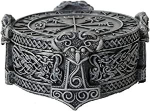 Pacific Giftware Norse Viking Vegviser Runic Compass Knotwork Thor Hammer Trinket Box Sculptural Decor 5 inch Diameter