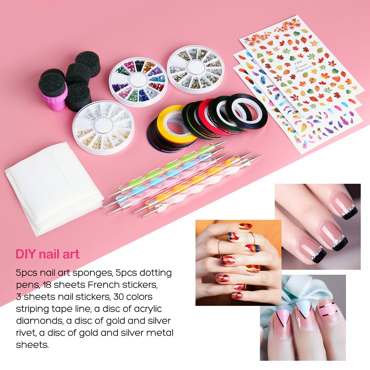 Amazon etereauty nail art kit with 18 tape line nail stickers amazon etereauty nail art kit with 18 tape line nail stickers 30 rolls striping tape 5 dotting pens 3 nail art stickers gradient nails sponges prinsesfo Image collections
