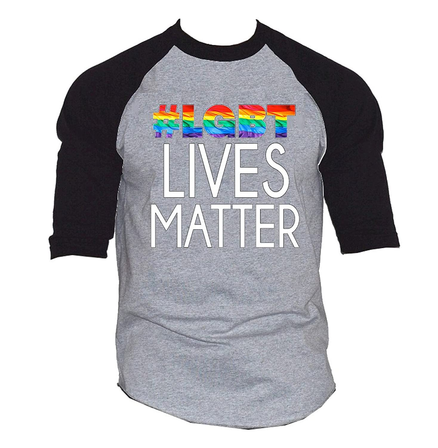 Rainbow LGBT Lives Matter Men's Black/Gray Raglan Baseball T-Shirt Black/Gray