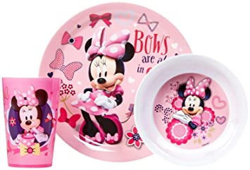 Designs Dinnerware Set with Plate Bowl and Cup and Disneyu0027s Minnie Mouse  sc 1 st  Amazon.com & Amazon.com : Zak! Designs Dinnerware Set with Plate Bowl and Cup ...