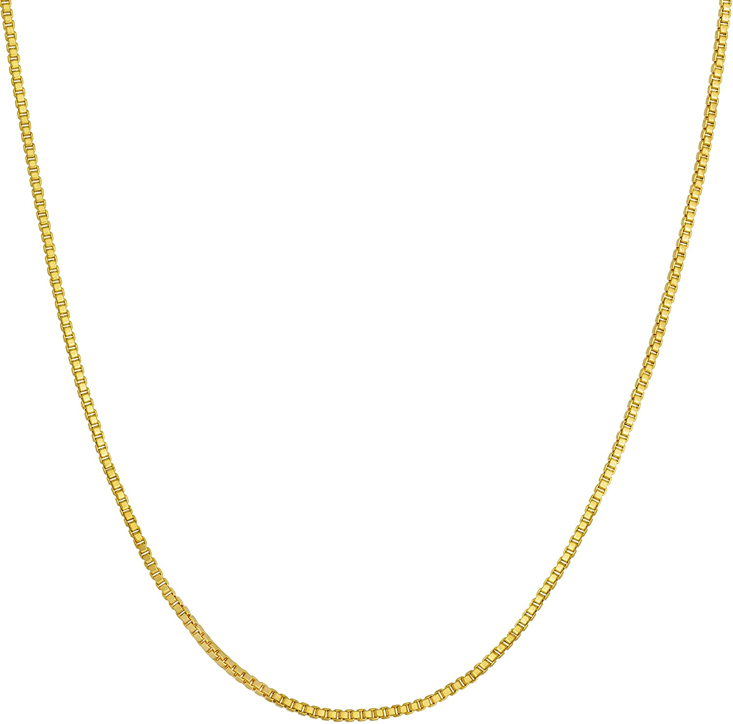 LIFETIME JEWELRY 1mm Box Chain Necklace for Women and Men 24k Real Gold Plated with Free Lifetime Replacement Guarantee