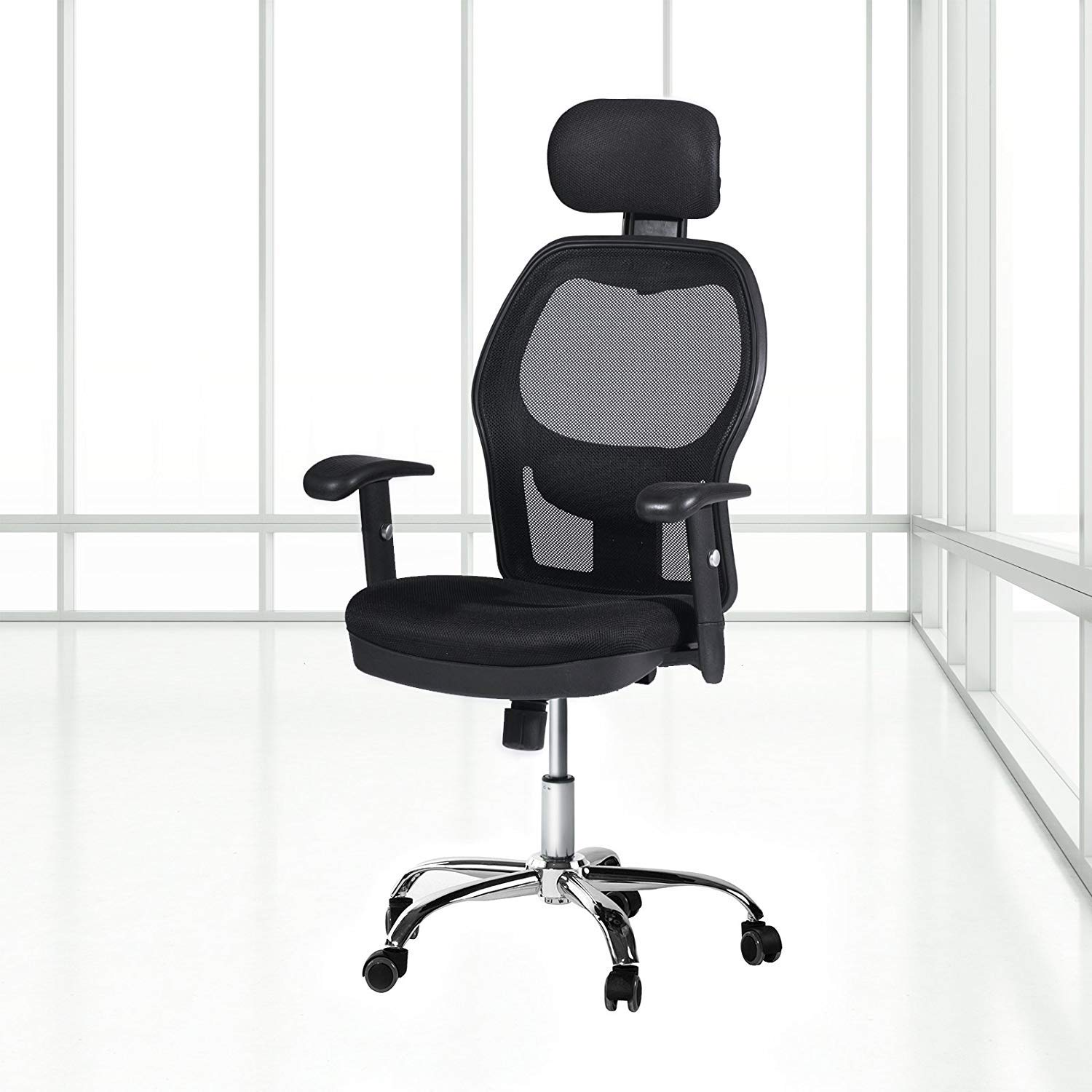 Winmi High Back Mesh Ergonomic Office Chair with Headrest and Armrest, 360 Degree Swivel Executive Computer Desk Task Chair,Back Lumbar Support, Black by Winmi (Image #7)