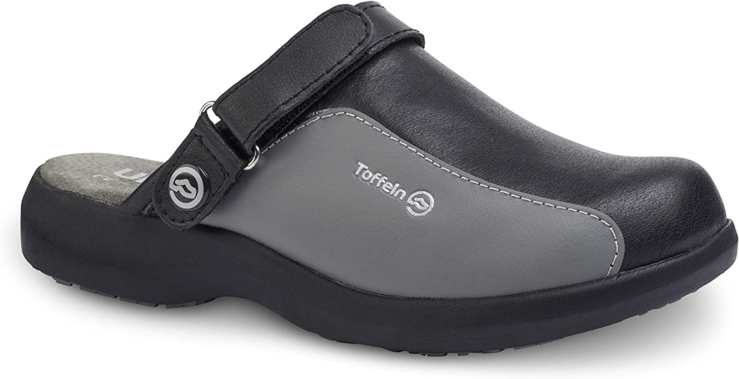 Comfortable Stylish Design Lightweight Shock Absorbing Anti-Static Materials Toffeln Ultralite Clogs Perfect for Nurses and Doctors Black Grey Excellent Breathability