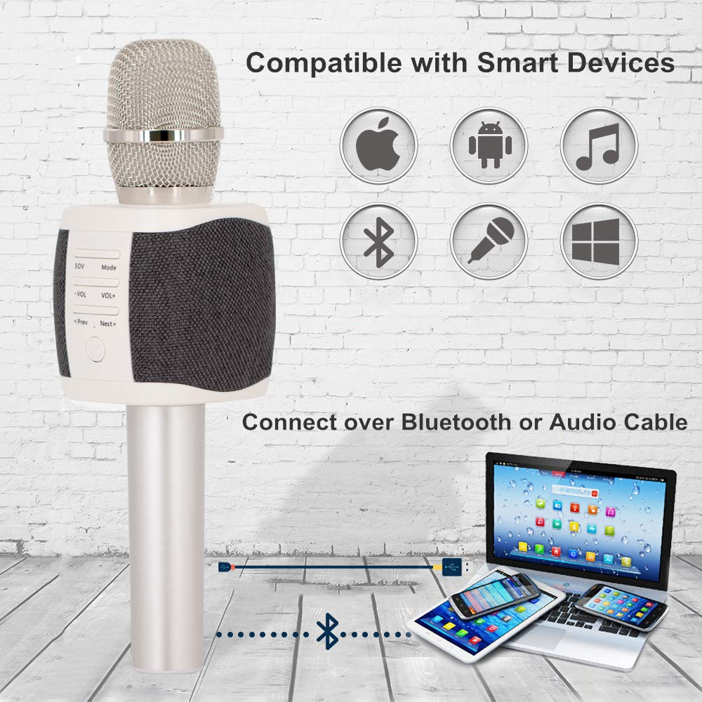 TOSING Wireless Karaoke Microphone with Built-in Speakers, Louder Portable Microphone for Home KTV Party, Bluetooth Handheld Karaoke Singing Machine for Smartphone, Birthday Gift for Kids Teen Adults by TOSING (Image #3)
