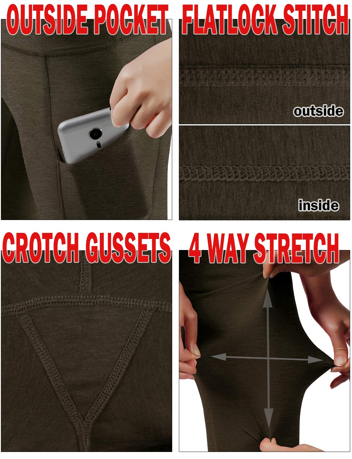 ODODOS High Waist Out Pocket Yoga Capris Pants Tummy Control Workout Running 4 Way Stretch Yoga Leggings,Olive,X-Small by ODODOS (Image #6)