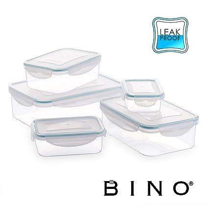 9e470b88f374 BINO TRUELOCK 10-Piece Rectangular Leak-Proof Plastic Snap Lock Food  Storage Container Set with Lids, Light Blue