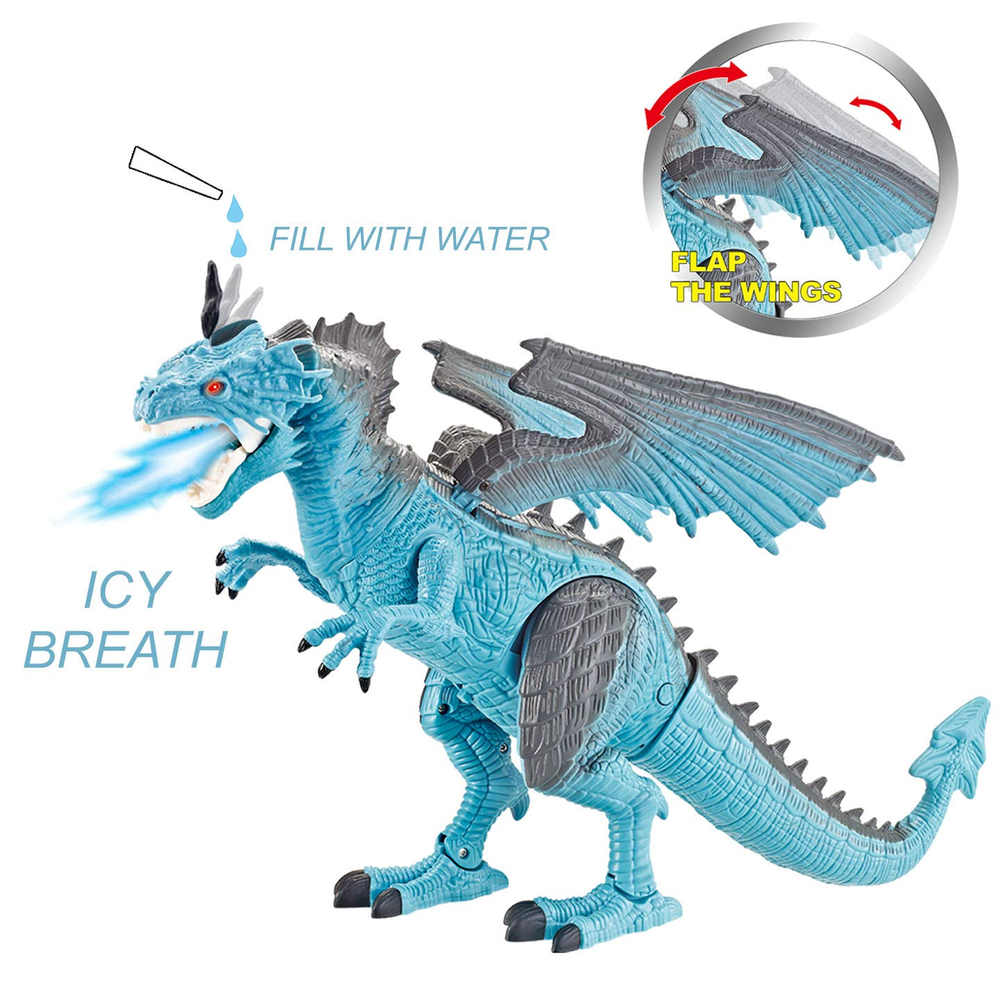 Liberty Imports Dino Planet Remote Control RC Walking Dinosaur Toy with Breathing Smoke, Shaking Head, Light Up Eyes and Sounds (Ice Dragon (with Smoke)) by Liberty Imports (Image #4)