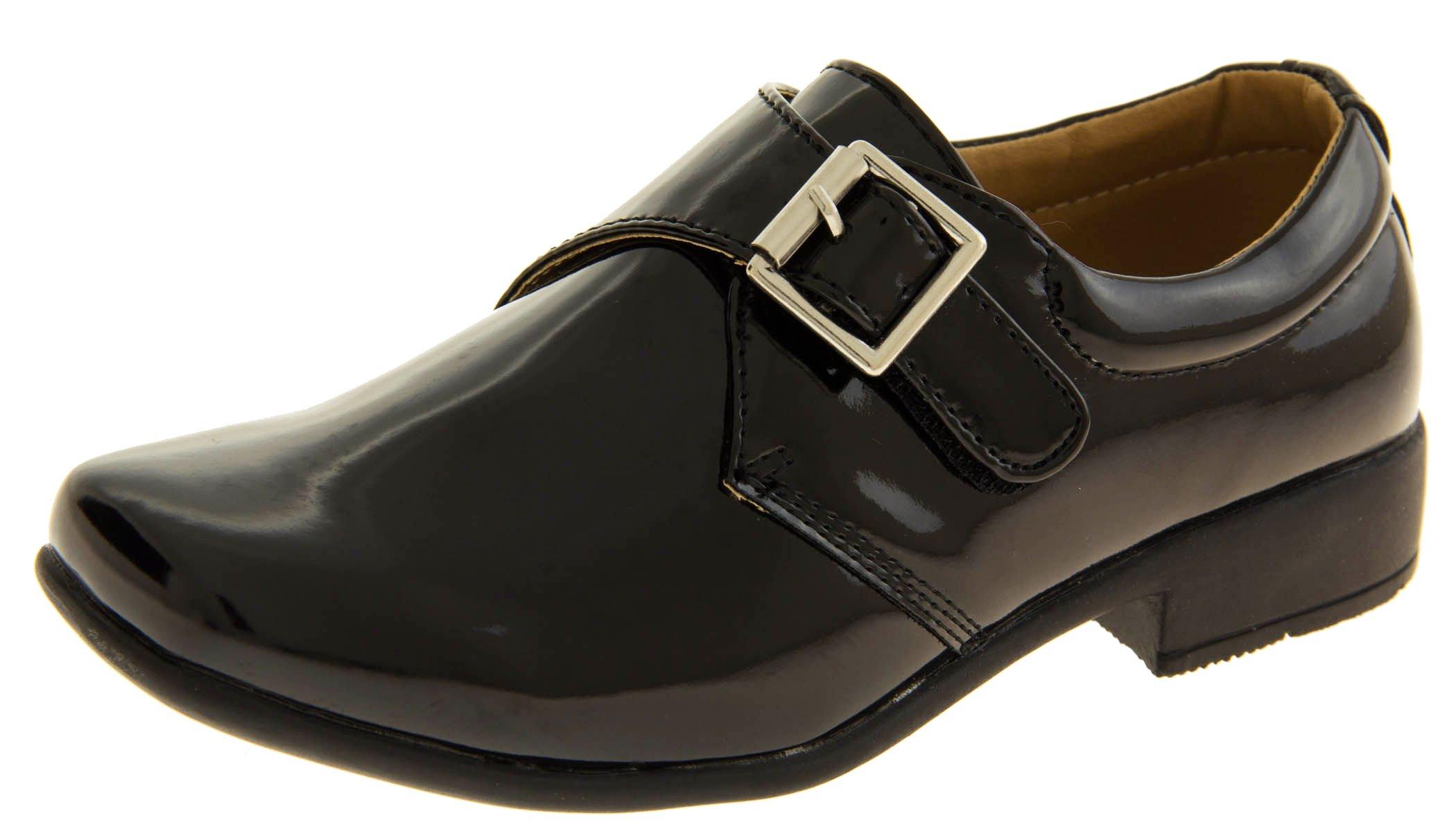 Rsb Boys Monk Black (patent/shiny) Faux Patent Leather Formal Shoes US 11 Kids