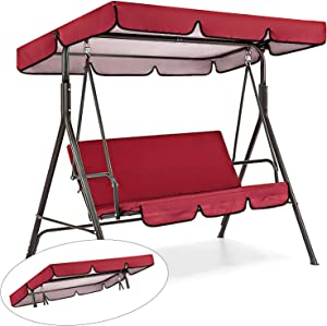Outdoor Patio Swing Canopy Replacement, Patio Chair Top Cover for Swing, Outdoor Block Sun Shade Patio Swing Hammock Waterproof Top Cover for Patio Garden Yard, Only Swing Cover (Red)