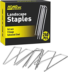 """HongWay 240pcs Landscape Staples 6"""" 11 Gauge Heavy-Duty U-Shaped Galvanized Garden Stakes Pins for Anchoring Landscape Fabric Irrigation Tubing"""