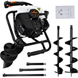 """DC HOUSE 52cc 2.4HP Gas Powered Post Hole Digger with Two Earth Auger Drill Bit 6"""" & 10"""" + 3 Extension Kits"""