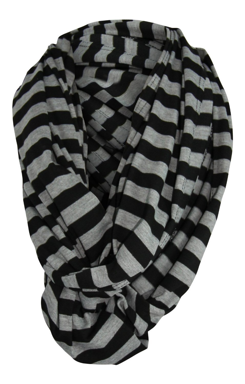 Multi-Use Baby Breastfeeding Infinity Nursing Cover / Nursing Scarf - Tykes & Tails Black / Gray Stripe Pattern - Many Colors and Patterns of Premium Breastfeeding Covers