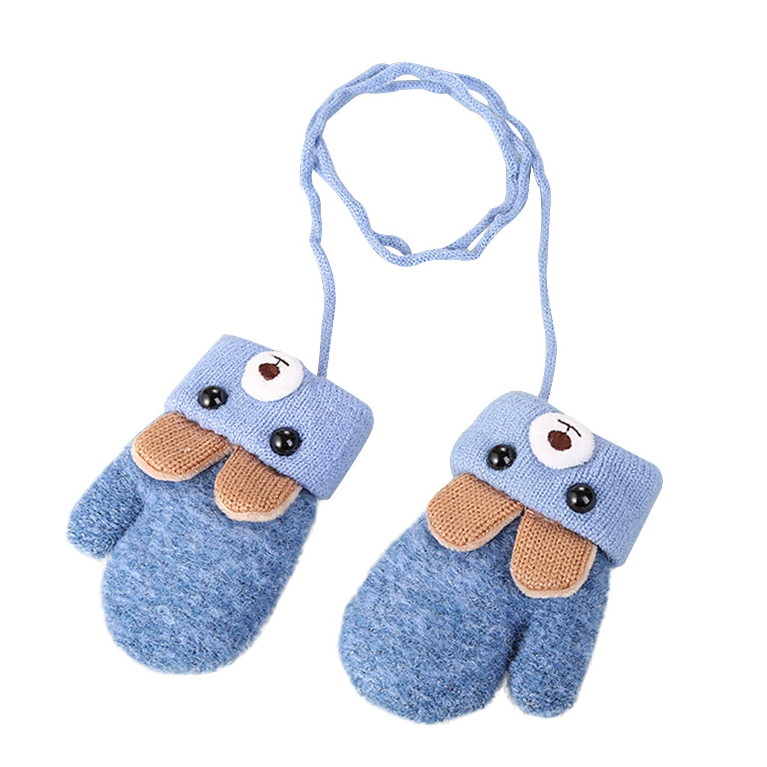 Kids Toddlers Hang Neck Gloves Cute Cartoon Bear Knit Gloves Newborn Unisex Baby Warm Mittens Thicken Cashmere Winter Hot with Rope Mitten Thermal Full Finger Wrist Glove Boy Girls Aged 0-3 Xmas Gift