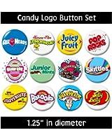 CANDY LOGO BUTTONS set#2 pins badges cute gifts jewelry supplies skittles pop rocks